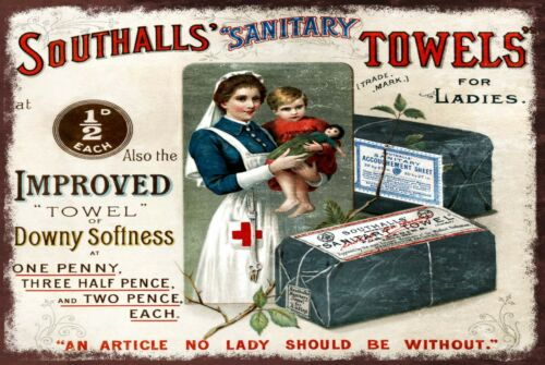 Southall/'s Towels For Ladies Advert Retro Vintage Style Metal Sign nurse
