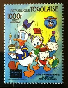 Timbres Animation, Dessins Animés Donald Duck Disney 50th Birthday Ameripex Surimpression Mnh Tampon 1986 Togo #