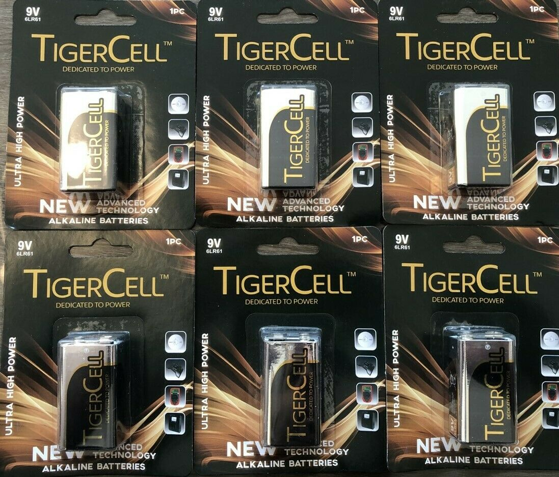 6 x 9V Battery MN1604 Alkaline 9v Batteries Heavy Duty Tiger Cell Smoke Alarms