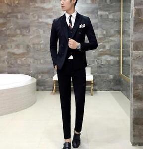 Mens-Double-breasted-Blazer-Lapel-Coat-Vest-Slim-Fit-Jacket-Pants-Suits-3Pcs-Hot