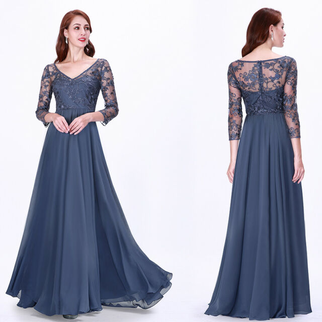 Ever-Pretty V Neck Bridesmaid Dresses Long Lace Sleeve Evening Party Dress Blue