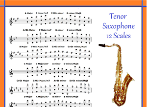 TENOR-LEAD-SAXOPHONE-POSTER-12-SCALES-FOR-LEAD-SAX-IN-TUBE
