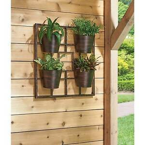 Vertical Garden Pot 4pc bronze flower wall stand planter pot vertical outdoor porch image is loading 4pc bronze flower wall stand planter pot vertical workwithnaturefo