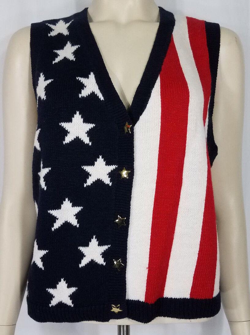Carolina Colours red bluee American Flag stars stripes sweater vest vest vest ladies Large 7b52d7