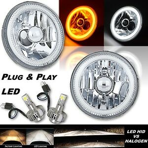 "5-3/4"" Switchback White Amber LED Halo DRL Turn Signal Angel Eye Headlight Pair"