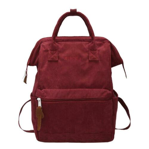Solid Color Travel Backpacks Corduroy Women Large Top-handle Bags Red L/&6