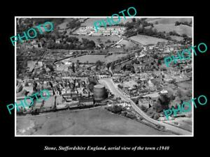 OLD-POSTCARD-SIZE-PHOTO-OF-STONE-STAFFORDSHIRE-ENGLAND-TOWN-AERIAL-VIEW-1940-2