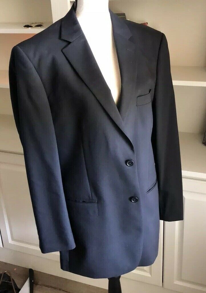 Jones New York  Mens Suit 40R   35.5 x 30 Pant 100% Wool Navy bluee
