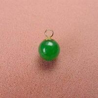 14k Gold - 9mm Green Jade Ball Pendant (gp007)