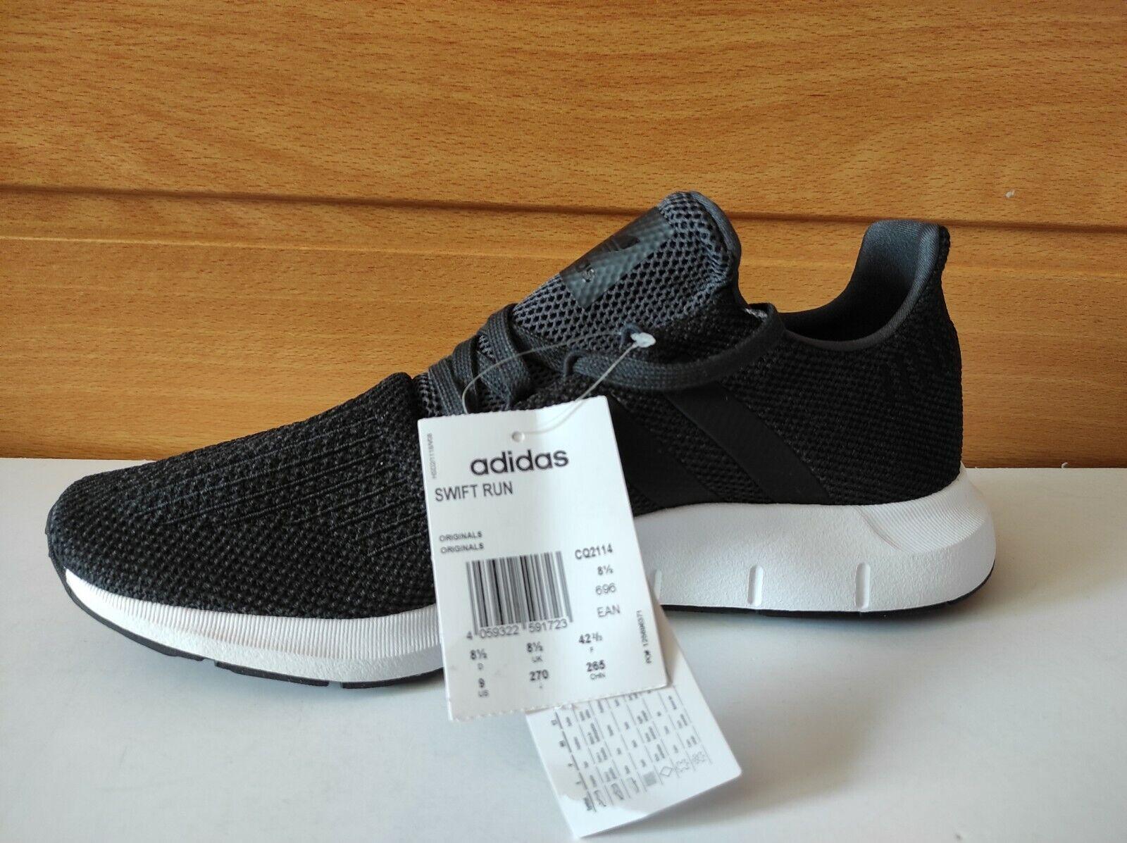 Adidas Zapatillas Hombre Swift Run CQ2114 Negras Blanco Nuevas Sin Caja