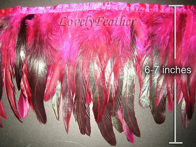 Coque feather fringe of hot pink irridescent colour 5 yards trim