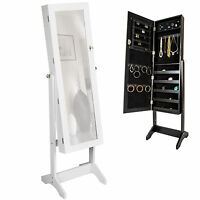 Large Floor Standing Jewelry Cabinet Storage Box Organiser With Mirror
