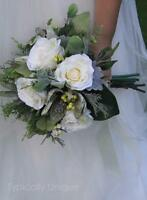 Winter Frosted Wedding Bouquet Artificial Silk Flowers Rose Berries Magnolia