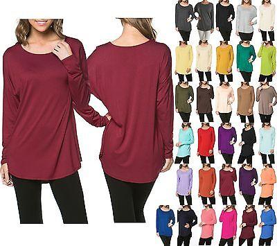 USA Women Boat Neck Solid Dolman Long Sleeve Loose Tunic Top Shirt Dress Rayon