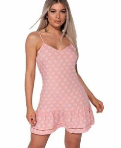 100% authentic 4b08f 365b4 Dettagli su Mini abito corto vestito donna floreale rosa estivo balza  spalline nuovo
