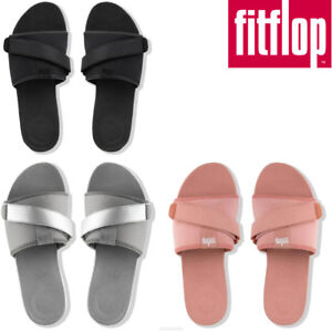30e29405352526 Fitflop Neoflex Slider Women Black Grey Pink Slide Sandals Size UK 3 ...