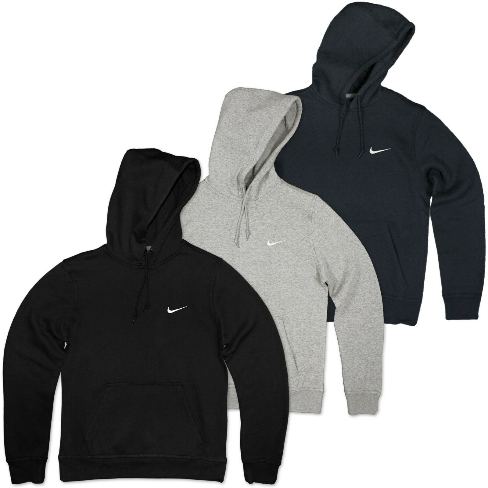 NIKE SWOOSH HOODIE FLEECE KAPUZEN PULLI SWEATER JUMPER HERBST SWEATER GRAU M