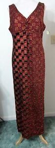EVENING-GOWN-L-Red-Orange-Geometric-Glitter-Formal-Party-Dress-NWT