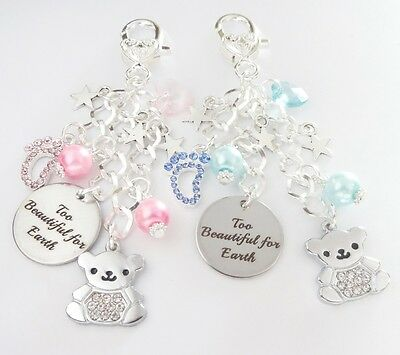 Too Beautiful for Earth* BAG CHARM/Keepsake,remembrance,In memory,SIDS,baby loss