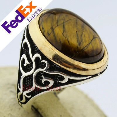 925 Sterling Silver Men Ring Personalized Ring Natural Tiger eye Stone