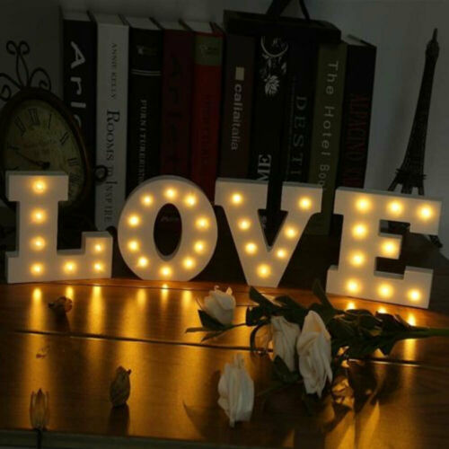 1x ENGLISH ALPHABET LETTER LED LIGHT WOODEN STANDING LAMP PARTY HOME DECOR