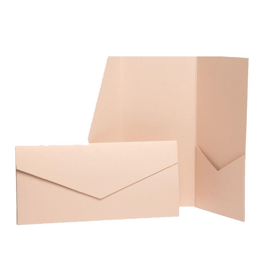 Nude Pearl Pocket Fold Invitations. Wallet invites. Pocketfold wedding cards
