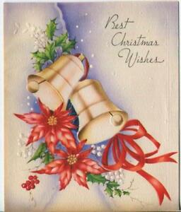 VINTAGE CHRISTMAS BELLS POINSETTIA FLOWERS WHITE RED HOLLY BERRIES GREETING CARD