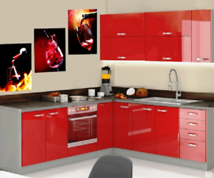 Red Gloss Kitchen Cabinets Complete set 8/9 Units Corner ...