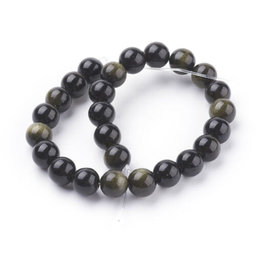 lot de 24 perles  8 mm obsidienne dorée gemme  naturel
