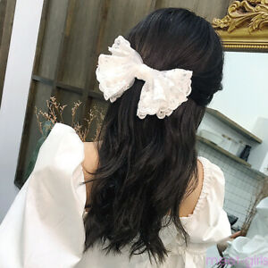 Women-Lace-Big-Bow-Ties-Hair-Clip-Barrette-Ponytail-Holder-Accessories-Hairpin