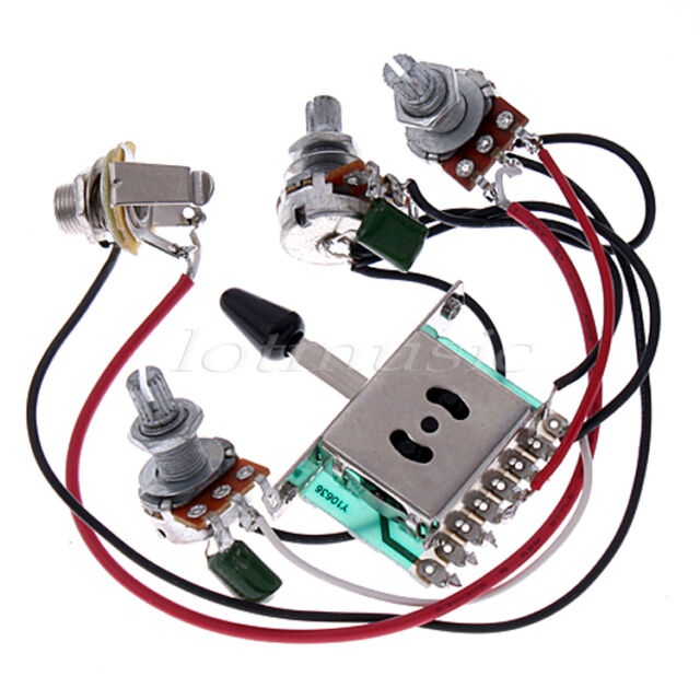 5 pickup switch pots jack wiring harness for fender strat guitar rh ebay com strat input jack wiring diagram fender strat jack wiring