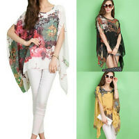 Women Irregular Batwing Sleeve Printing Chiffon Shirt Oversized Blouse GFY