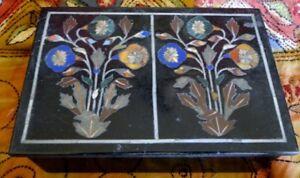 Fleurs-Boite-en-marbre-Pietra-Dura-Pierres-semi-precieuses-Bijoux-Fait-main-Inde