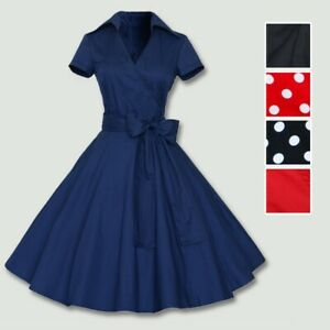 50s-60s-Retro-Hepburn-Style-Vintage-V-Neck-Swing-Lapel-Rockabilly-Pinup-Dress