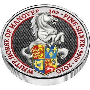 Grossbritannien-5-Pfund-2020-Queen-039-s-Beasts-Weisses-Pferd-von-Hannover-in-Farbe
