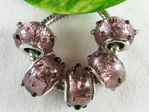 5 pc Purple Mauve Foil Bumpy Lampwork Beads Charms European Big Hole Jewelry