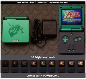 Nintendo Game Boy Advance GBA SP IPS MOD System 10 Level Brightness - Rayquaza +