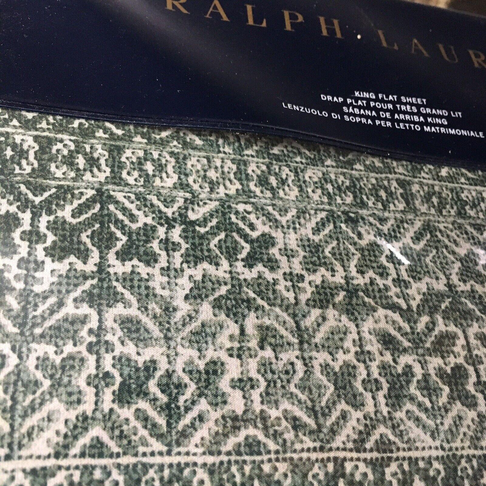 Ralph Lauren Notting Hill Eaton KING FLAT SHEET Green Ivory   NIP  Free Ship