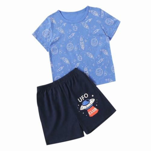 Summer Kid Boys Girls Clothes Set Cartoon Print Cotton Tops+Shorts Clothing