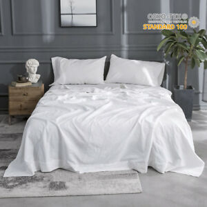 Simple-amp-Opulence-4Pcs-Linen-Sheet-Set-Solid-Color-Flax-Cotton-Blend-Basic-Bedding
