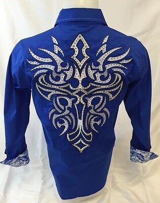 Mens Victorious Cross Tribal Button Down Shirt Blue White Stitch Roar W Style 36