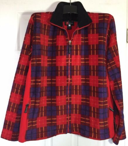 Brand New  women ladies Large full zip fleece jacket Red plaids