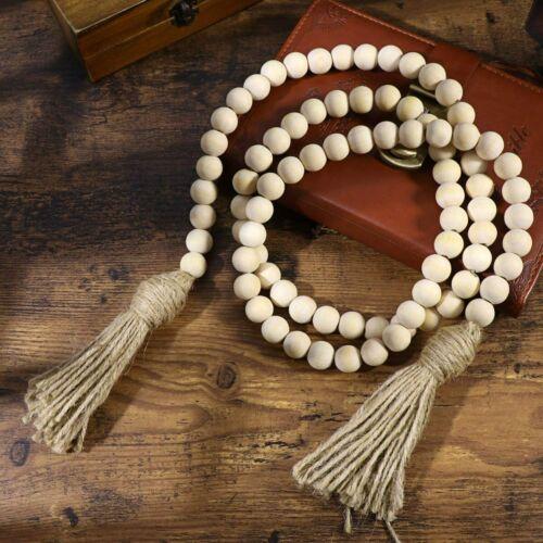 Wood Bead Garland Farmhouse Rustic Country Hanging Prayer Beads Wall Decor DIY