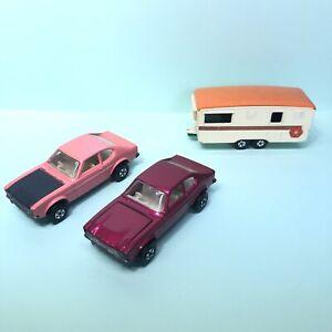 MATCHBOX-Superfast-No-54-FORD-CAPRI-MK1-Dark-Pink-Pink-amp-Caravan-1970s-VGC