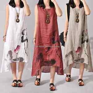 7452f66b58acd Women Boho Sleeveless Loose Cotton Linen Summer Casual Sundress A ...