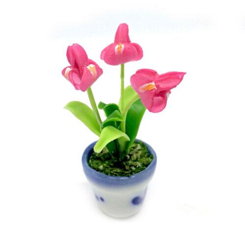 Light Pink Iris Clay Flower Ceramic Pot Dollhouse Miniature Tiny Handmade