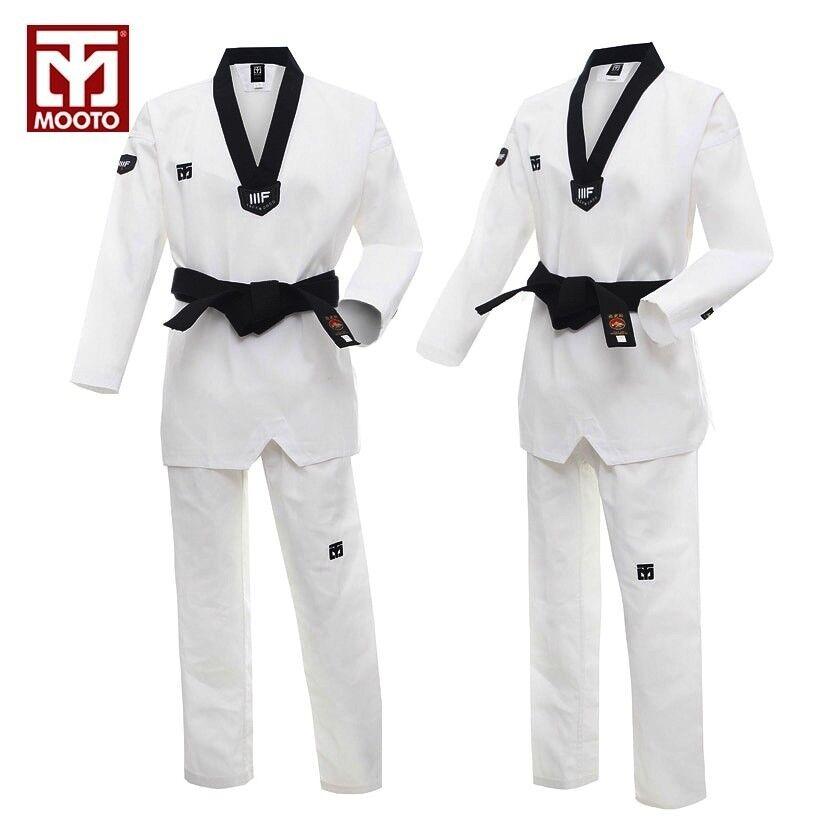 New Taekwondo uniform WTF Approved Taekwondo Dobok White Breathable cotton Motoo
