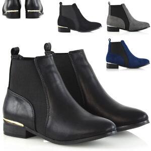 Mujer-Botas-al-Tobillo-Chelsea-Bloque-senoras-Taco-Plano-Biker-Riding-Distribuidor-Zapatos-Talla