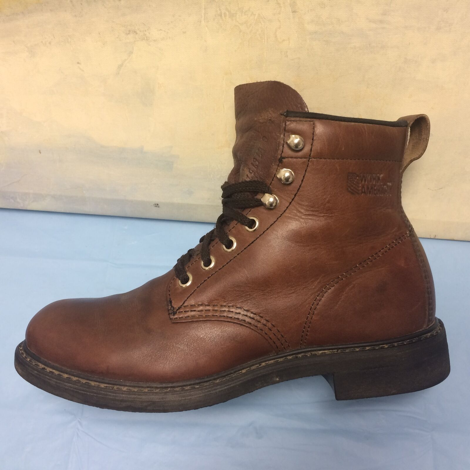 Work America 47675214 Women's  6C Brown Leather Lace Up Work Ankle Boots