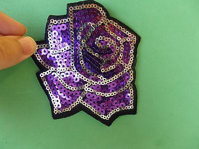 1 large purple flower rose patch applique sequin sew on motif embellishment uk